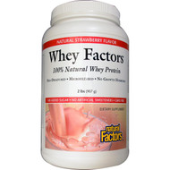 Natural Factors, Whey Factors, 100% Natural Whey Protein, Natural Strawberry Flavor, 2 lbs (907 g)