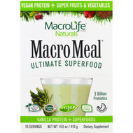 Macrolife Naturals, MacroMeal Ultimate Superfood, Vanilla Protein + Superfoods, 10 Packets, 14.5 oz (410 g)