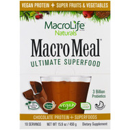 Macrolife Naturals, MacroMeal Ultimate Superfood, Chocolate Protein + Superfoods, 10 Packets, 15.9 oz (450 g)