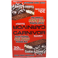MuscleMeds, Carnivor Soft Baked Protein Bar, Cookies & Cream, 12 Bars, 3.2 oz (91 g) Each