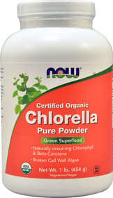 NOW Certified Organic Chlorella Pure Powder - 1 lb