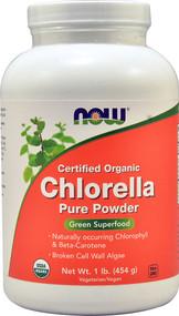 Now Foods, Certified Organic Chlorella, Pure Powder, 1 lb (454 g)