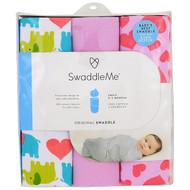 Summer Infant, Swaddle Me, Original Swaddle, Small, 0-3 Months, Elephant Hearts, 3 Swaddles