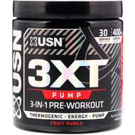 USN, 3XT- Pump, 3-In-1 Pre-Workout, Fruit Punch, 6.56 oz (186 g)