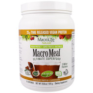 Macrolife Naturals, MacroMeal, Vegan, Chocolate Protein + Superfoods, 23.8 oz (675 g)