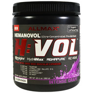 ALLMAX Nutrition, H:VOL, Nitric Oxide Pre-Workout + Vascular Blood Volumizer Intense Grape, 10.1 oz (285 g)