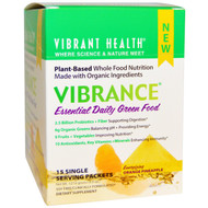 Vibrant Health, Vibrance, Essential Daily Green Food, Energizing Orange Pineapple, 15 Single Serving Packets, 8.507 g Each