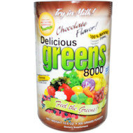 Greens World Inc., Delicious Greens 8000, Chocolate Flavor, 10.6 oz (300 g) Powder