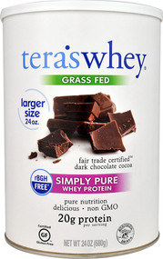Teras Whey Simply Pure Whey Protein rBGH Free Grass Fed Dark Chocolate Cocoa -- 24 oz