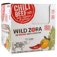 Wild Zora Foods , Meat & Veggie Bar, Chili Beef With Kale, Cayenne & Apricot, 10 Packs, 1.1 oz (31 g) Each