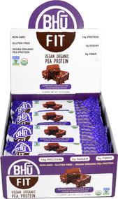 BHU Fit Vegan Organic Pea Protein Bar Superfood Chocolate Chip plus Fudge Brownie Batter - 12 Bars