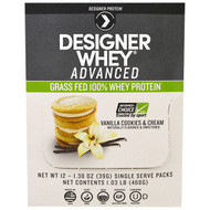 Designer Protein, Designer Whey Advanced, Grass Fed 100% Whey Protein, Vanilla Cookies & Cream, 12 Packs, 1.38 oz (39 g) Each