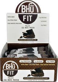 BHU Fit Paleo Egg White Protein Bar Double Dark Chocolate Chip - 12 Bars
