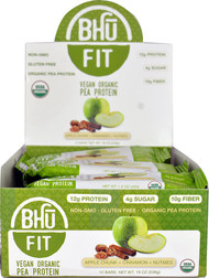 BHU Fit Vegan Organic Pea Protein Bar Apple Chunk Cinnamon Nutmeg - 12 Bars