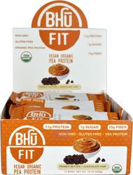BHU Fit Vegan Organic Pea Protein Bar Peanut Butter Chocolate Chip - 12 Bars