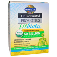 Garden of Life, Organic, Dr. Formulated Probiotics Fitbiotic, Unflavored, 20 Packets, 0.15 oz (4.2 g) Each