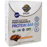 Garden of Life, Sport, Organic Plant-Based Performance Protein Bar, Peanut Butter Chocolate, 12 Bars, 2.7 oz (75 g) Each