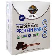 Garden of Life, Sport, Organic Plant-Based Performance Protein Bar, Chocolate Fudge, 12 Bars, 2.7 oz (75 g) Each