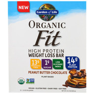 Garden of Life, Organic Fit, High Protein Weight Loss Bar, Peanut Butter Chocolate, 12 Bars, 1.94 oz (55 g) Each