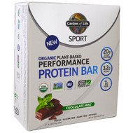 Garden of Life, Sport, Organic Plant-Based Performance Protein Bar, Chocolate Mint, 12 Bars, 2.5 oz (70 g) Each
