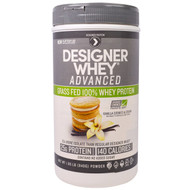 Designer Protein, Designer Whey Advanced, Grass Fed 100% Whey Protein, Vanilla Cookies & Cream, 1.85 lb (840 g)