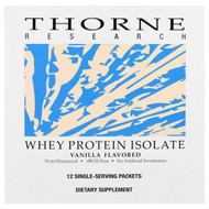 Thorne Research, Whey Protein Isolate, Vanilla Flavored, 12 Single Serving Packets, 26.9 g Each
