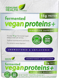 Genuine Health Fermented Vegan Proteins plus Digestive Support Unsweetened Unflavored - 15 Packets