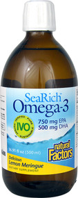 Natural Factors SeaRich Omega-3 750 mg EPA 500 mg DHA Lemon Meringue - 16.91 fl oz