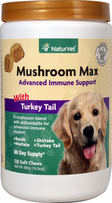 NaturVet Mushroom Max Advanced Immune Support with Turkey Tail for Dogs - 120 Soft Chews