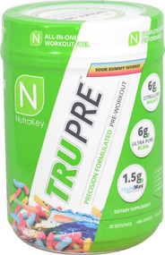 NutraKey TRU Pre Precision Formulated Pre-Workout Sour Gummy Worms -- 20 Servings