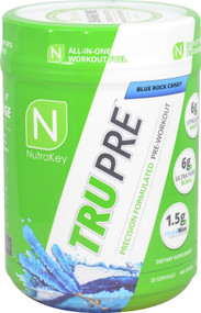 NutraKey TRU Pre Precision Formulated Pre-Workout Blue Rock Candy - 20 Servings