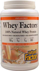 Natural Factors, Whey Factors, Grass Fed Whey Protein, Unflavored, 2 lbs (907 g)
