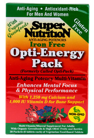 Super Nutrition Opti-Energy Pack Anti-Aging Potency Multi-Vitamin Iron Free - 30 Packets