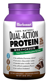 Bluebonnet Nutrition 100% Natural Dual Action Protein Natural Chocolate - 2.1 lbs