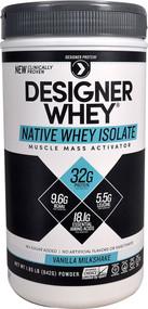 Designer Protein Designer Whey Native Whey Isolate Vanilla Milkshake -- 1.85 lbs