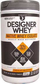 Designer Protein Native Whey Isolate Chocolate Milkshake -- 1.85 lbs