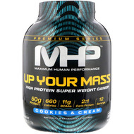 Maximum Human Performance, Up Your Mass, High Protein Super Weight Gainer, Cookies & Cream, 4.66 lbs (2,112 g)