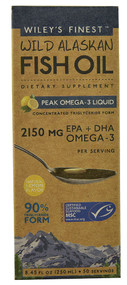 Wiley's Finest Wild Alaskan Fish Oil Peak Omega-3 Liquid Natural Lemon - 8.45 fl oz