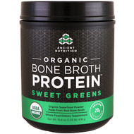 Dr. Axe / Ancient Nutrition, Organic Bone Broth Protein, Sweet Greens, 16.8 oz (476 g)