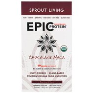 Sprout Living Epic Organic Plant-Based Protein Chocolate Maca -- 16 Packets