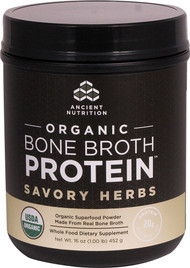 Ancient Nutrition Organic Bone Broth Protein Savory Herbs - 17 Servings