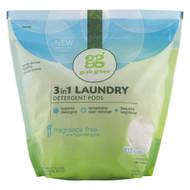 GrabGreen, 3-in-1 Laundry Detergent Pods, Fragrance Free, 132 Loads