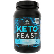 Dr. Axe / Ancient Nutrition, Keto Feast, Ketogenic Balanced Shake & Meal Replacement, Vanilla, 25 oz (710 g)
