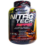 Muscletech, Nitro Tech, Ripped, Ultimate Protein + Weight Loss Formula, Chocolate Fudge Brownie, 4.00 lbs (1.81
