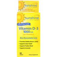 3 PACK OF Sunshine, Vitamin D-3 with Vitamin C, 1000 IU, 60 Caplets