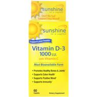 Sunshine, Vitamin D-3 with Vitamin C, 1000 IU, 60 Caplets