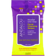 3 PACK OF Andalou Naturals, Age Defying, Micellar One Step Facial Cleansing Swipes, 12 Pre Moistened Towelettes