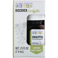 3 PACK OF Aura Cacia, Discover Eucalyptus, Pure Essential Oil, .25 fl oz (7.4 ml)