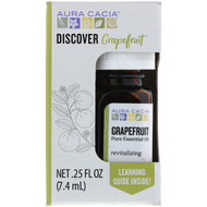 3 PACK OF Aura Cacia, Discover Grapefruit, Pure Essential Oil, .25 fl oz (7.4 ml)
