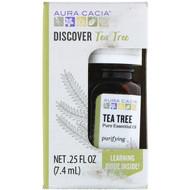 3 PACK OF Aura Cacia, Discover Tea Tree, Pure Essential Oil, .25 fl oz (7.4 ml)